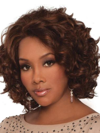 "Auburn Lace Front Curly 14"" Remy Human Hair Wigs"