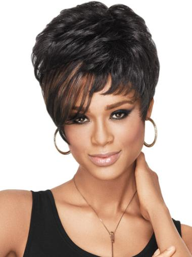Flexibility Short Straight Capless African American Wigs