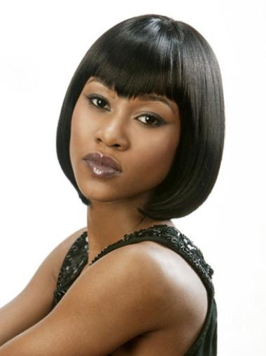 New Short Straight Lace Front African American Wigs