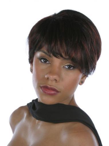 Modern Short Straight Capless African American Wigs