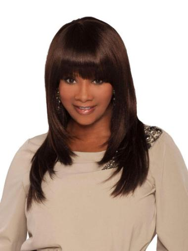"""Style 18"""" Straight Capless African American Wigs"""