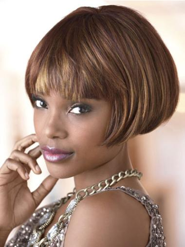 Designed Short Straight Capless African American Wigs