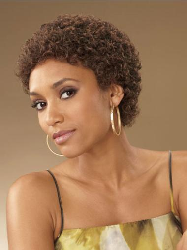 Comfortable Short Curly Capless African American Wigs