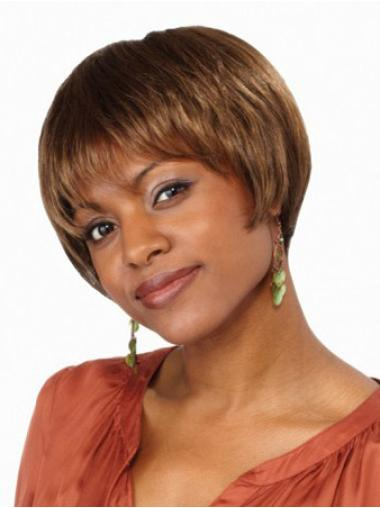 Synthetic Brown Lace Front Straight Short Wigs
