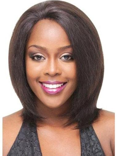 Cheap Medium Straight Lace Front African American Wigs
