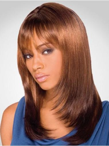 "Suitable 16"" Straight Lace Front African American Wigs"