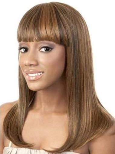 "Durable 14"" Straight Capless African American Wigs"