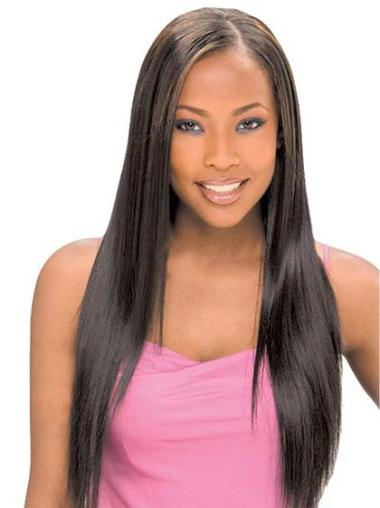 Soft Long Straight Lace Front African American Wigs