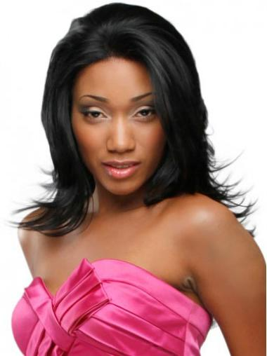 Lace Front Black Synthetic Wigs
