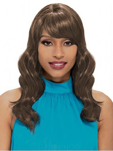 Capless Brown Synthetic Wavy Wigs
