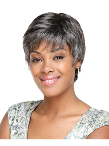 Short Wave Capless Grey Synthetic Grey Modern Wigs