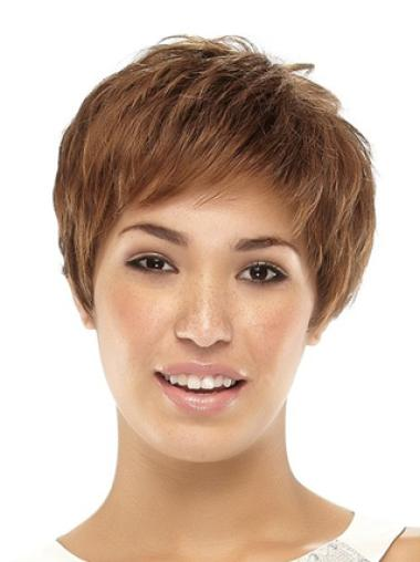 Short Capless Brown Top Synthetic Wigs