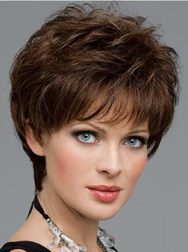 Synthetic Brown Wavy Trendy Wigs