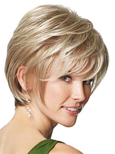 Synthetic Blonde Straight Suitable Wigs