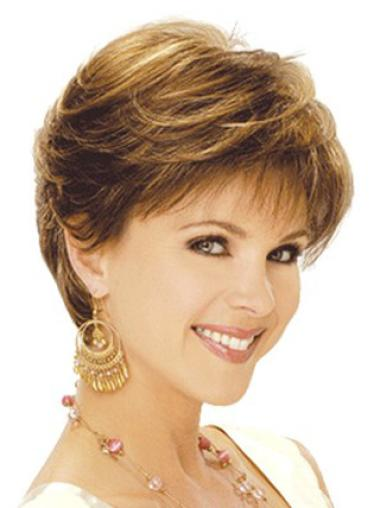 Short Capless Brown No-fuss Synthetic Wigs