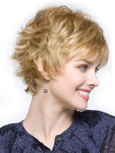 Capless Wavy Short Blonde Synthetic Wigs