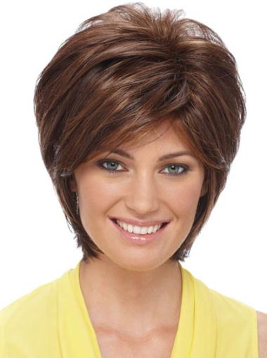 Short Capless Brown Designed Synthetic Wigs