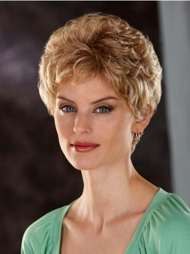 Lace Front Synthetic Wavy Short Blonde Wigs