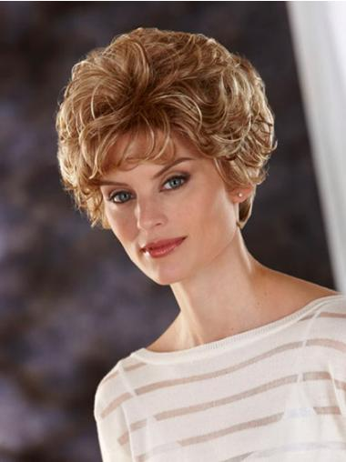Blonde Synthetic Lace Front Wavy Short Wigs