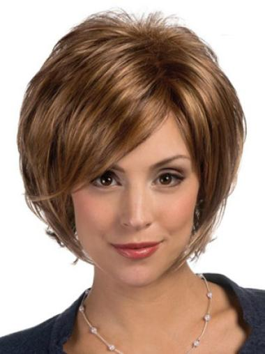 Synthetic Lace Front Straight Medium Brown Wigs