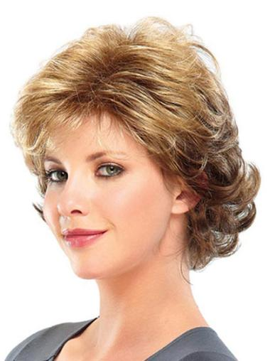 Synthetic Capless Curly Medium Blonde Wigs