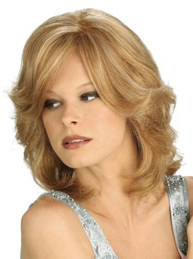 Synthetic Full Lace Wavy Medium Blonde Wigs