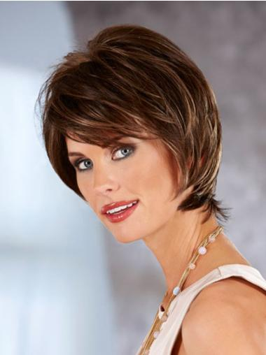 Synthetic Lace Front Straight Short Brown Wigs