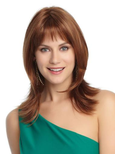 Medium Capless Auburn Affordable Synthetic Wigs