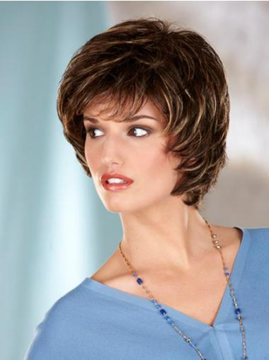 Synthetic Capless Wavy Short Brown Wigs