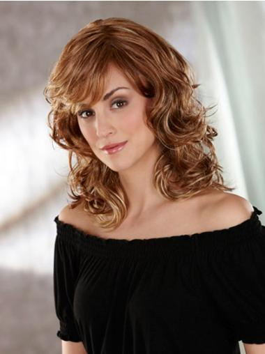 Synthetic Capless Wavy Medium Brown Wigs