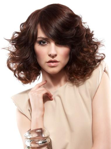 Synthetic Lace Front Curly Medium Auburn Wigs