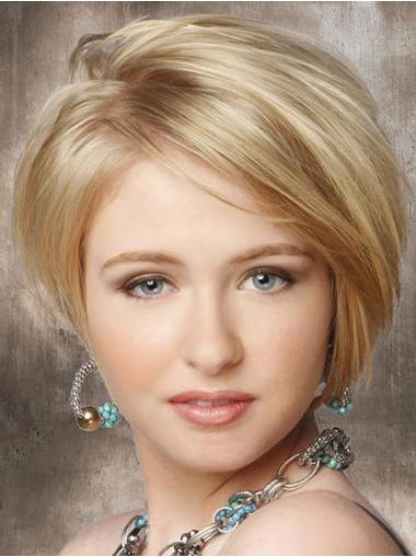 Synthetic Lace Front Straight Short Blonde Wigs