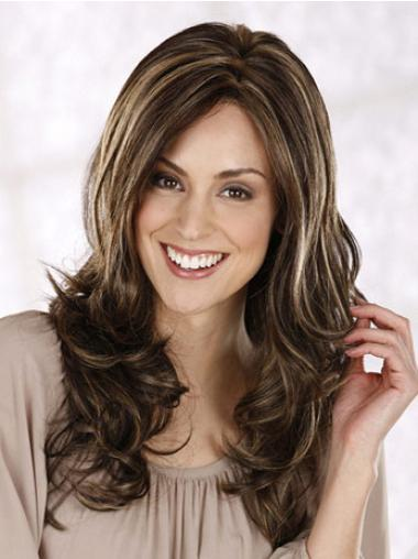 Synthetic Long Curly Modern Brown Wigs