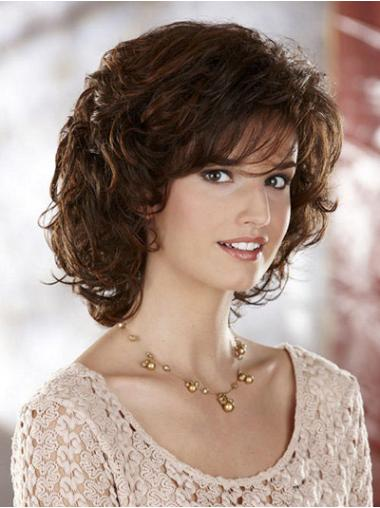 Synthetic Medium Curly Modern Brown Wigs