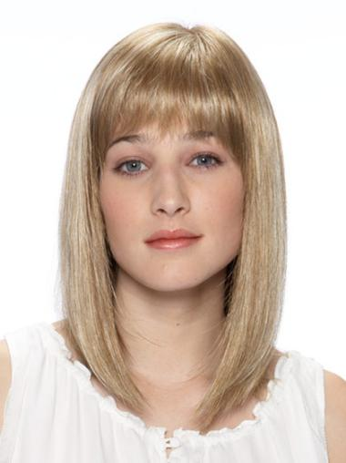 Synthetic Medium Straight Fabulous Blonde Wigs