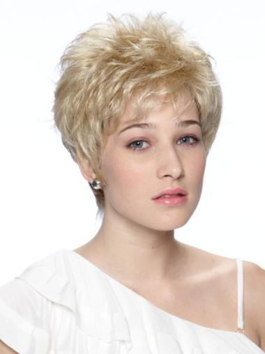 Synthetic Short Wavy Sassy Blonde Wigs