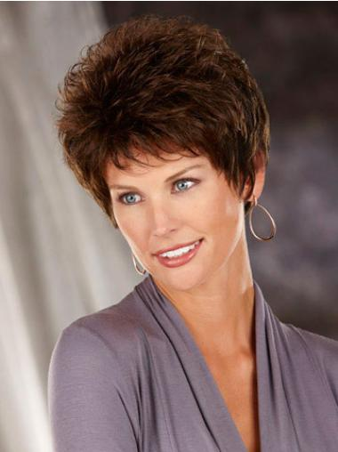 Synthetic Short Wavy Affordable Brown Wigs