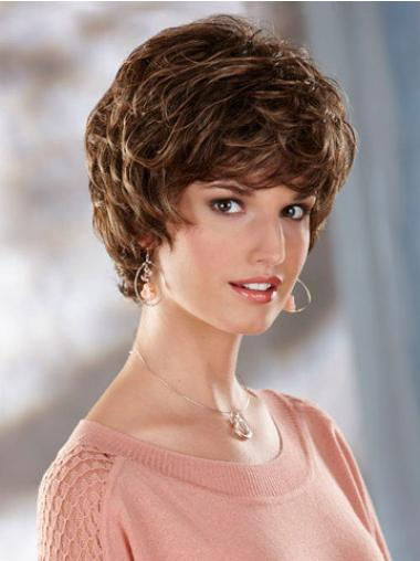 Synthetic Short Curly Flexibility Brown Wigs
