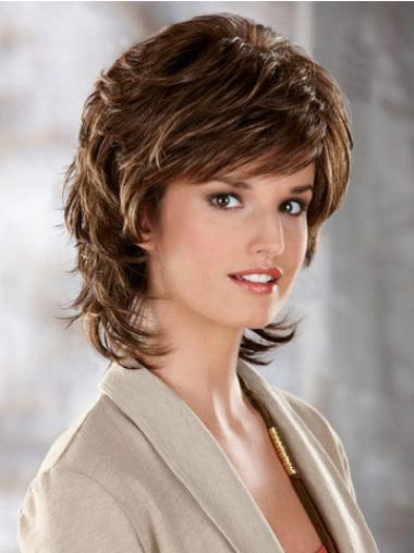 Synthetic Short Wavy Comfortable Brown Wigs