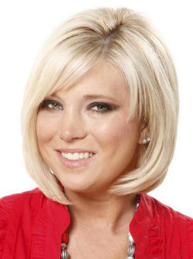Synthetic Medium Straight Soft Blonde Wigs