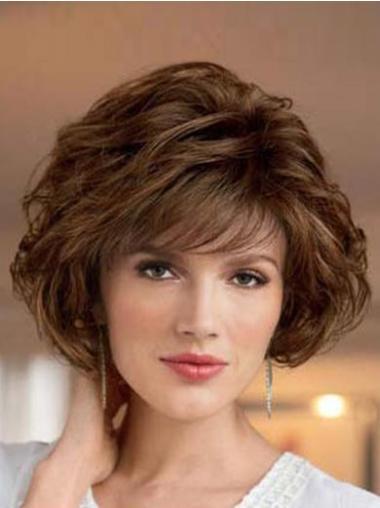 Synthetic Medium Wavy Comfortable Brown Wigs