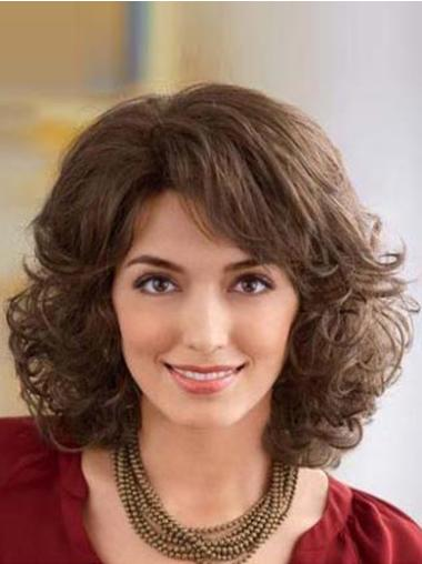 Synthetic Medium Wavy Ideal Brown Wigs