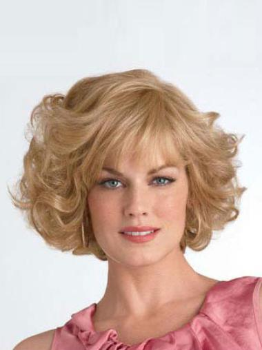 Synthetic Medium Curly Designed Blonde Wigs