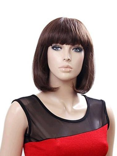Synthetic Medium Straight Good Brown Wigs
