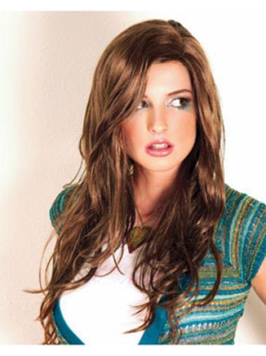 Synthetic Long Wavy Style Brown Wigs