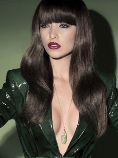 Synthetic Long Wavy Trendy Brown Wigs