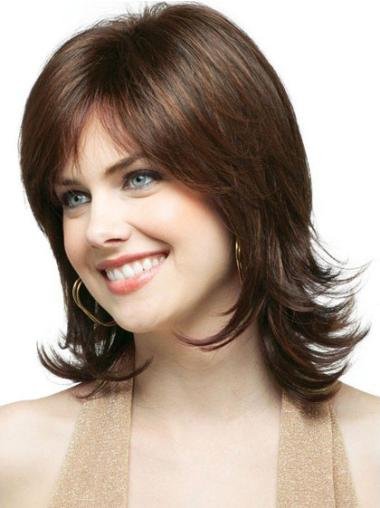 Medium Capless Brown New Synthetic Wigs