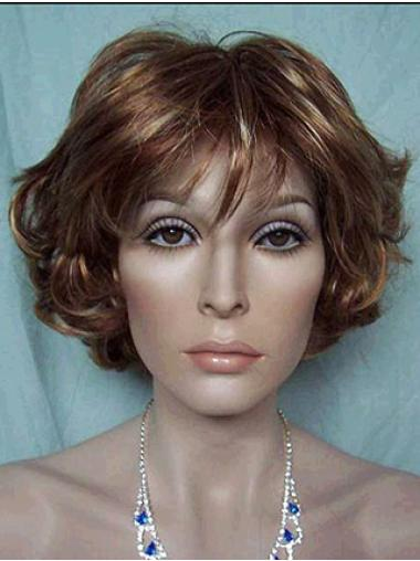Synthetic Short Wavy Cheap Brown Wigs