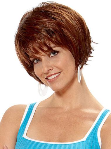 Synthetic Short Straight Hairstyles Auburn Wigs
