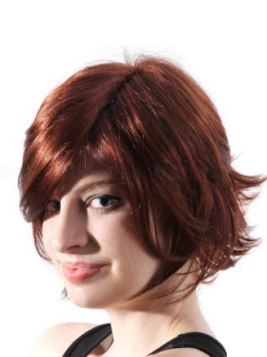 Synthetic Short Straight Stylish Auburn Wigs